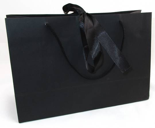 PREMIUM MEDIUM BLACK CARRY BAG WITH BLACK ROPE HANDLES & RIBBON TIE