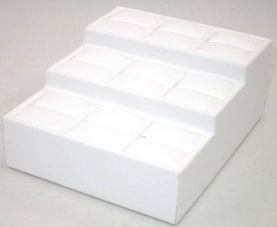 MINI MULTI RING 3 TIER DISPLAY STAND WHITE VINYL