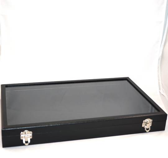 GLASS TOP DISPLAY CASE BLACK LEATHERETTE 410X250X50MM