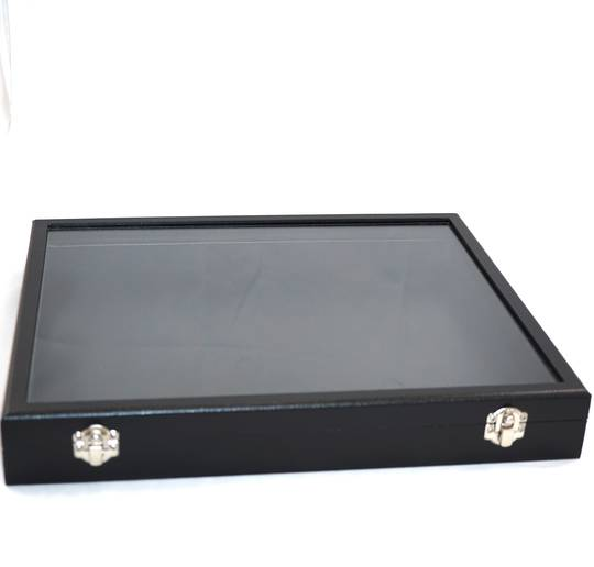 GLASS TOP DISPLAY CASE BLACK 420X320X50MM