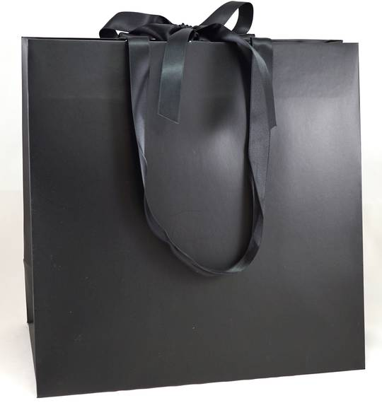 LARGE BLACK LAMINATED CARRY BAG WITH BLACK RIBBON HANDLES & TIE