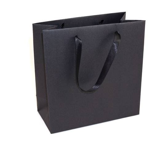 DELUXE SMALL BLACK CARRY BAG WITH BLACK RIBBON HANDLES