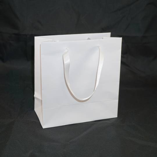 DELUXE SMALL WHITE CARRY BAG WITH WHITE RIBBON HANDLES