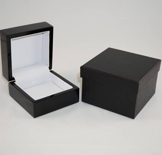 PENDANT BOX GLOSS BLACK WOOD WHITE PAD