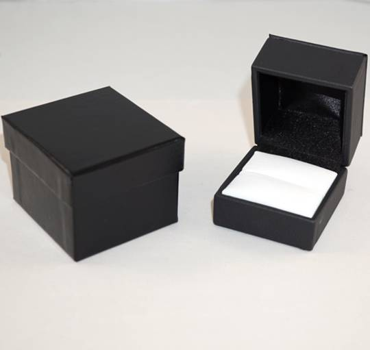 IMR PREMIUM - RING BOX IMITATION LEATHER BLACK TWO TONES INSERTS & OUTER BOX