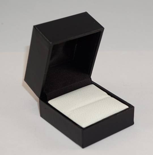 SDR - RING BOX LEATHERETTE BLACK TWO TONES INSERTS