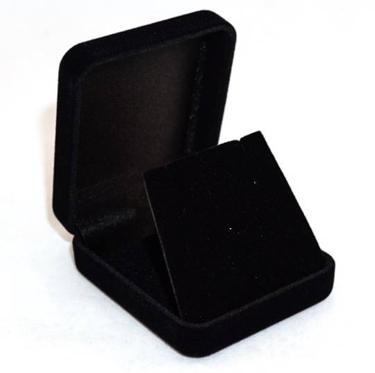 SSE - SMALL EARRING/PENDANT BOX BLACK FLOCK BLACK FLAP