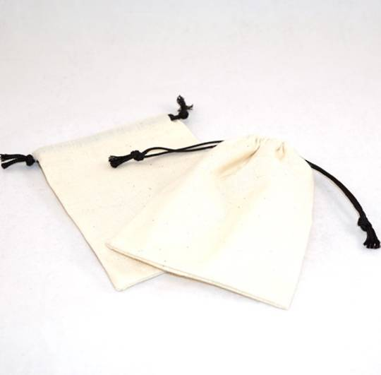 LARGE CALICO POUCH CREAM/BLACK CORD 95 X 130MM