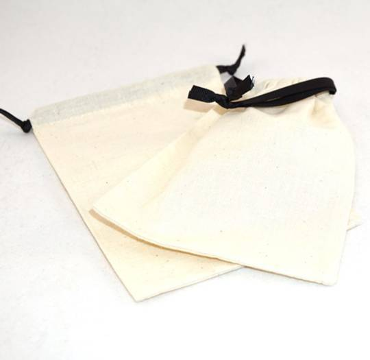 XL CALICO POUCH CREAM/BLACK RIBBON 115 X 160MM