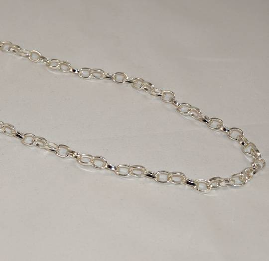 HAYLEY OVAL BELCHER CHAIN SILVER PLATED 7.5X6.0MM (1 MTR)