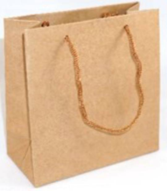 SMALL BROWN CARRY BAG WITH BROWN STRING HANDLES BULK DEAL (50 PCS)