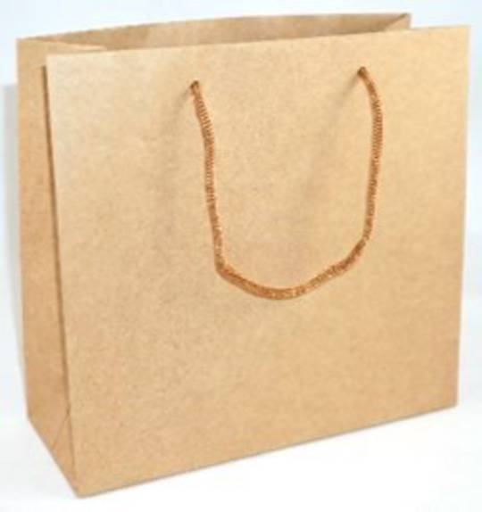 MEDIUM BROWN CARRY BAG WITH BROWN STRING HANDLES
