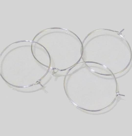 "HOOP EAR WIRES 1""/25MM SILVER PLATED (10 PAIRS)"