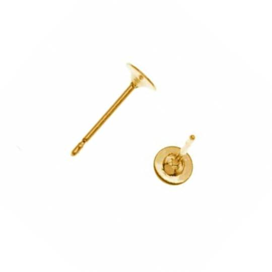 EARRING POST 3MM PAD GOLD PLATED (10 PAIRS)