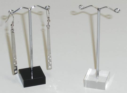 EARRING STAND SLIM CLEAR PERSPEX & WIRE