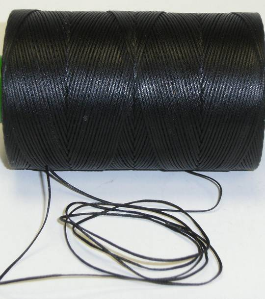 BLACK SEMI WAXED JEWELLERY CORD 0.8MM / FULL ROLL (500 MTRS)