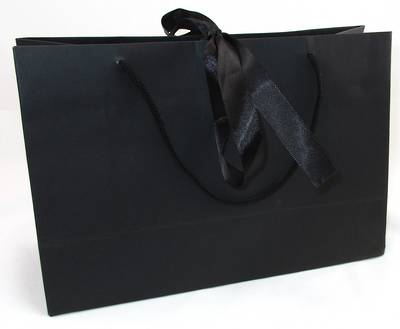 PREMIUM MEDIUM BLACK CARRY BAG WITH BLACK ROPE HANDLES & RIBBON TIE BULK DEAL (30 PCS)