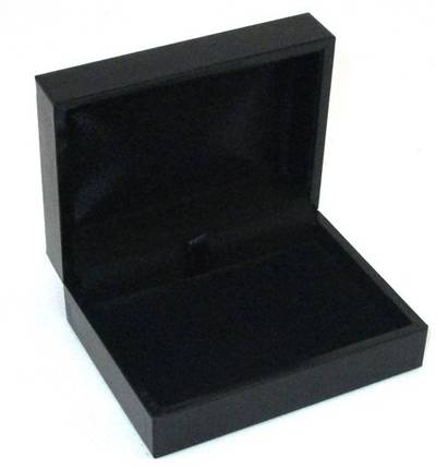 SC17H - PENDANT/BROOCH BOX LEATHERETTE BLACK NO LINE BLACK PAD