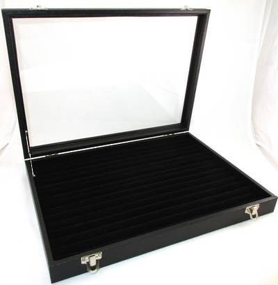 DELUXE GLASS TOP RING DISPLAY CASE W/ROLLS BLACK LARGE
