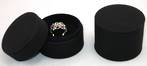 DELUXE ROUND RING BOX BLACK FABRIC