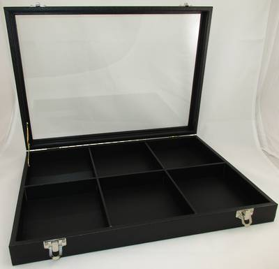 GLASS TOP DISPLAY CASE BLACK W/6 COMPARTMENTS