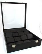 JUMBO GLASS TOP CASE W/ TIERED LARGE EARRING/PENDANT DISPLAY BLACK