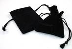 DELUXE BLACK SUEDE PARTITION POUCH SMALL