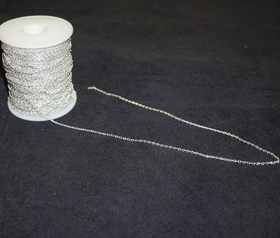 BOX CHAIN EXTRA FINE SILVER PLATED 1.9X2.8MM (1 MTR)