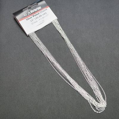 "SILVER PLATED CHAIN 18"" (45CM) - 10 PACK"