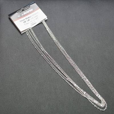 """SILVER PLATED CHAIN 19"""" (47.50CM) - 5 PACK"""