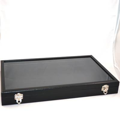GLASS TOP DISPLAY CASE BLACK 410X250X50MM