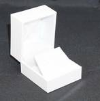 SDRFL - EARRING BOX LEATHERETTE WHITE NO LINE WHITE VELVET FLAP