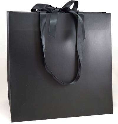PREMIUM LARGE BLACK CARRY BAG BLACK RIBBON HANDLES & TIE