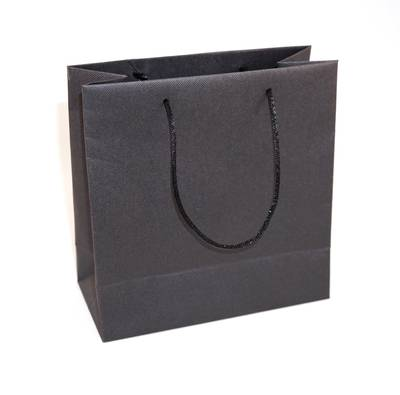 SMALL BLACK CARRY BAG WITH BLACK STRING HANDLES