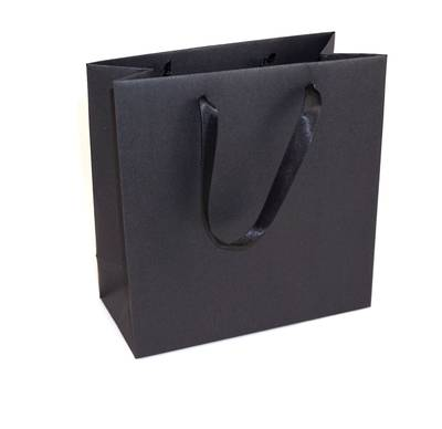 DELUXE BLACK SMALL CARRY BAG BLACK RIBBON HANDLES
