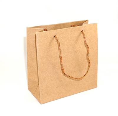 SMALL BROWN CARRY BAG WITH BROWN STRING HANDLES