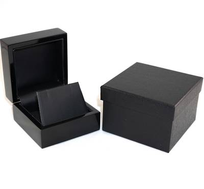 EARRING BOX GLOSS BLACK WOOD BLACK FLAP