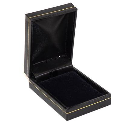 SDSP - SMALL PENDANT/EARRING BOX LEATHERETTE BLACK BLACK PAD