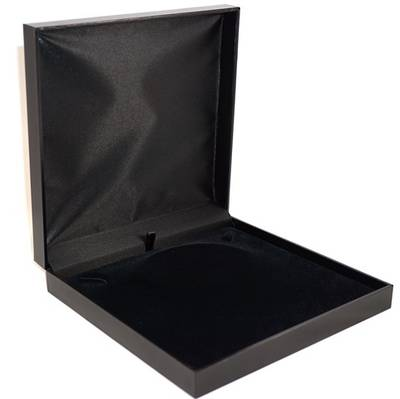 SDM - LARGE NECKLACE BOX LEATHERETTE BLACK NO LINE BLACK VELVET PAD BULK DEAL (6 PCS)