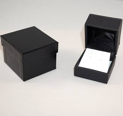 IMRFL PREMIUM - EARRING BOX IMITATION LEATHER BLACK TWO TONES INSERTS & OUTER BOX