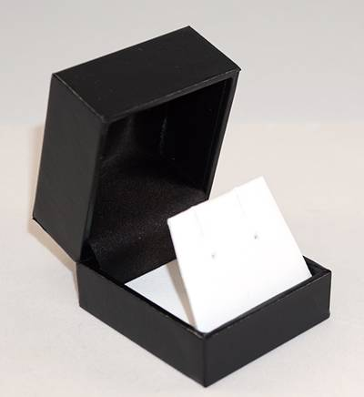 SDRFL - EARRING BOX LEATHERETTE BLACK TWO TONES INSERTS