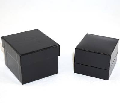 SDRFL PREMIUM - EARRING BOX LEATHERETTE BLACK TWO TONES INSERTS & OUTER BOX