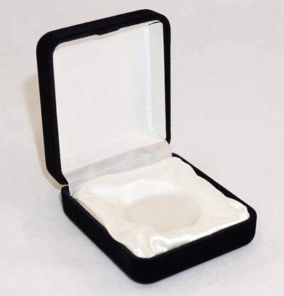 SSE - SMALL MEDAL BOX BLACK FLOCK WHITE INSERT