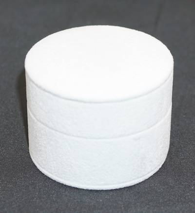 DELUXE ROUND RING BOX WHITE SUEDE