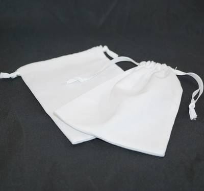 XL CALICO POUCH WHITE/WHITE RIBBON 115 X 160MM