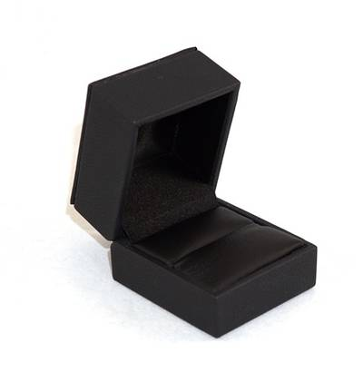 IMR - RING BOX IMITATION LEATHER BLACK BLACK VINYL PAD