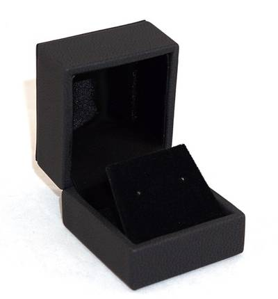 IMRFL - EARRING BOX IMITATION LEATHER BLACK BLACK VELVET FLAP