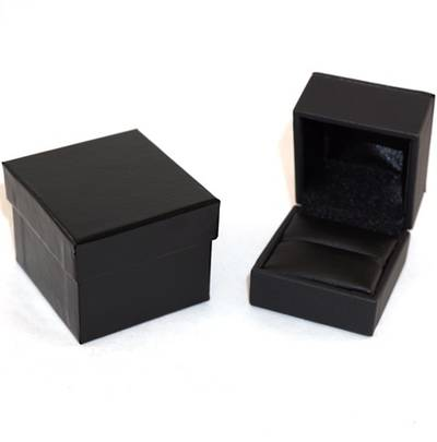 IMR PREMIUM - RING BOX IMITATION LEATHER BLACK BLACK VINYL PAD & OUTER BOX