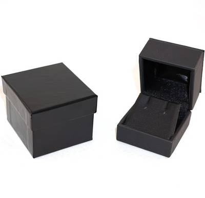IMRFL PREMIUM - EARRING BOX IMITATION LEATHER BLACK BLACK VINYL FLAP & OUTER BOX