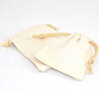 SMALL CALICO POUCH CREAM/GOLD CORD 70 X 80MM